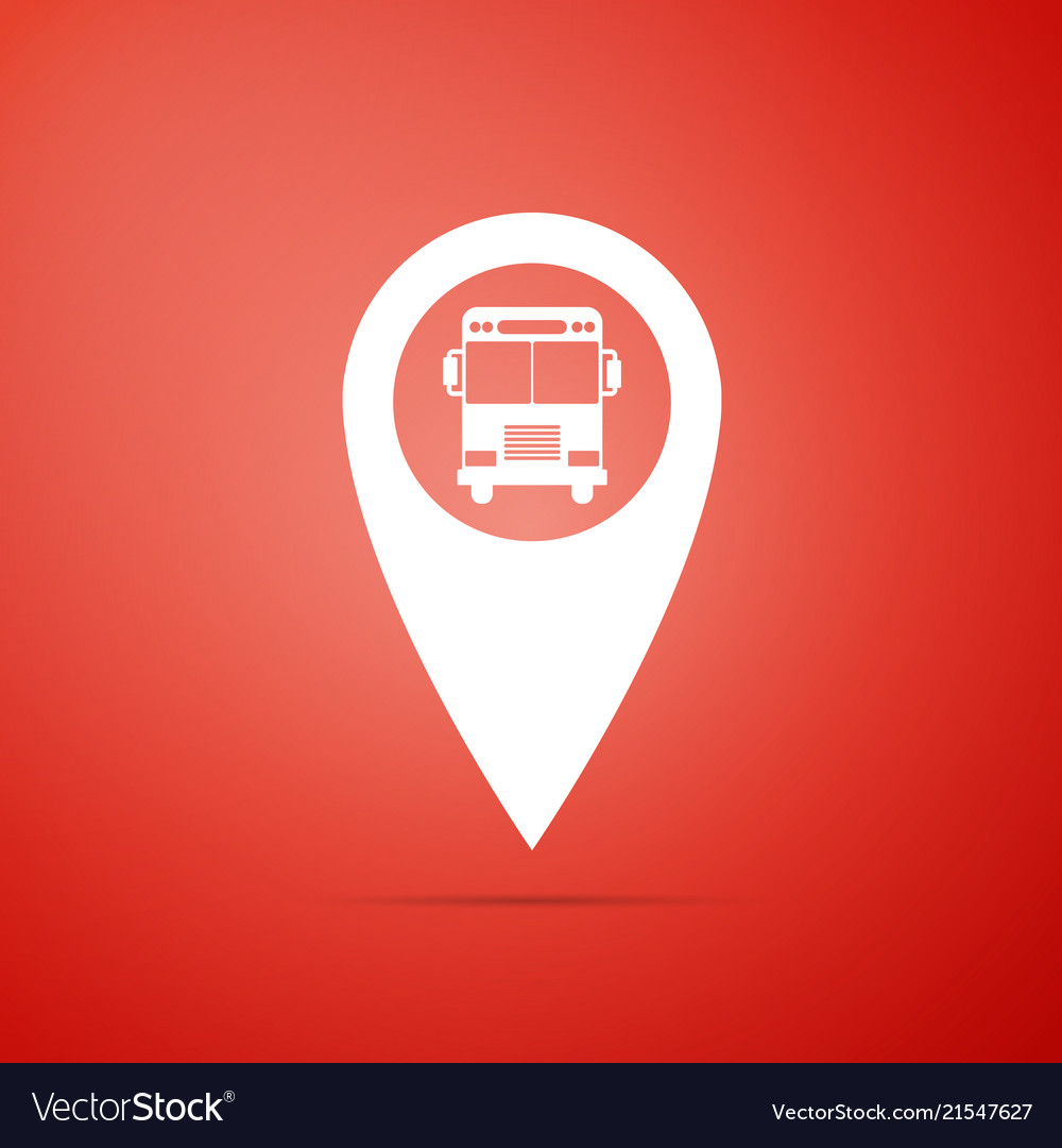 Map pointer with bus icon on red background