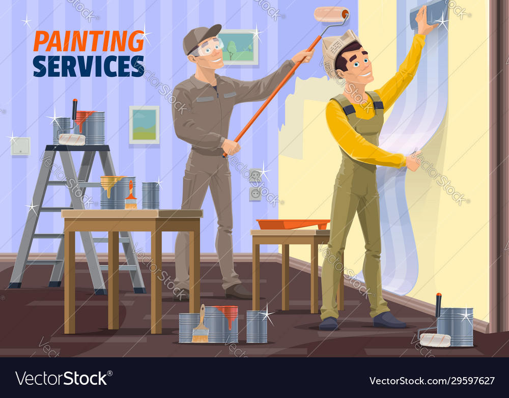 applying wallpaper with tools Vector Image
