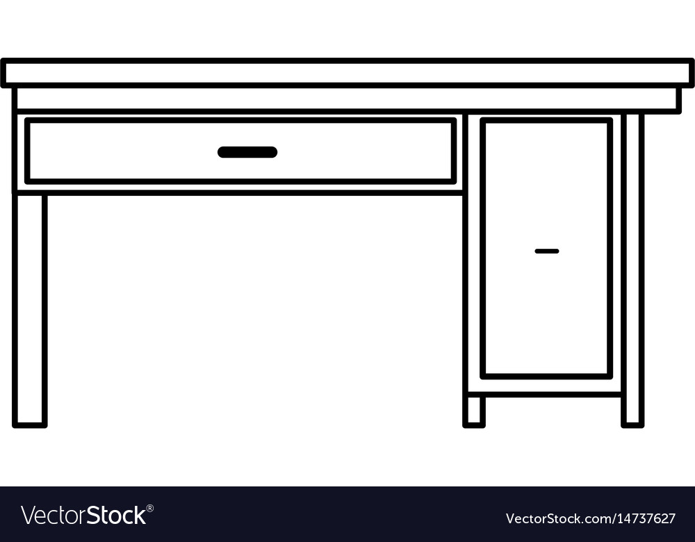 Office Desk Wooden Drawer Handle Furniture Outline Vector Image