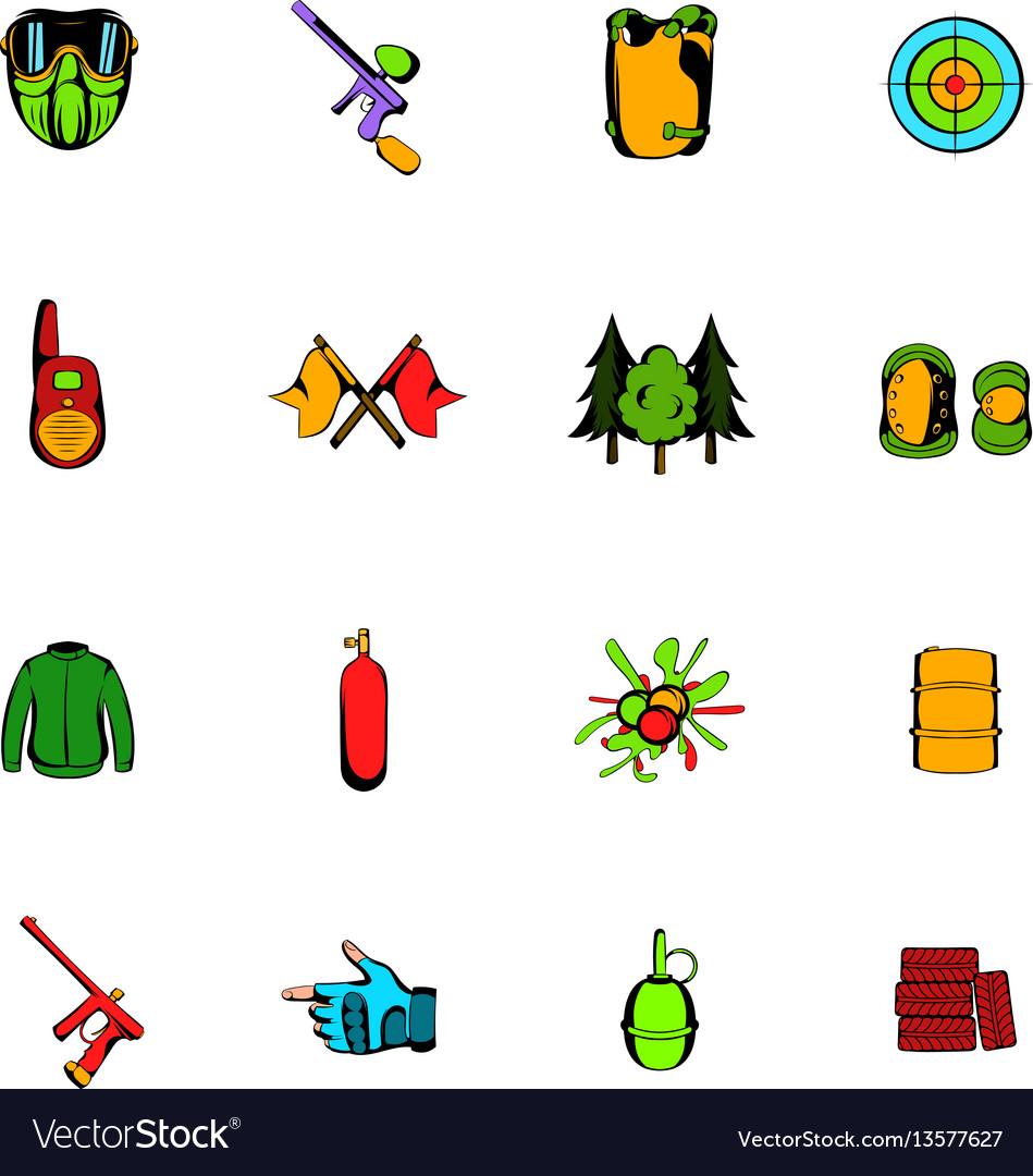 Paintball game comics icons set cartoon vector image