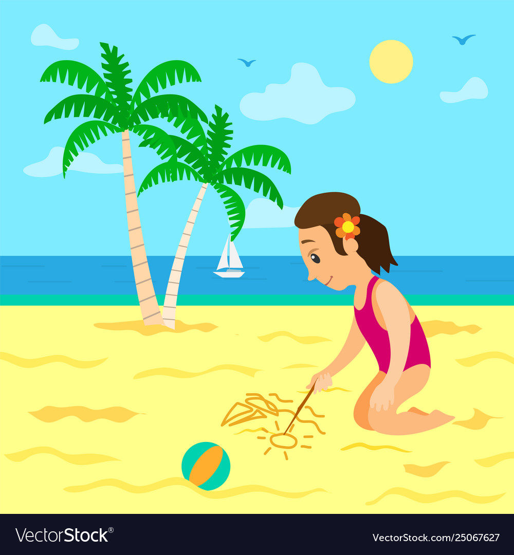 Summer vacations girl drawing image on sand