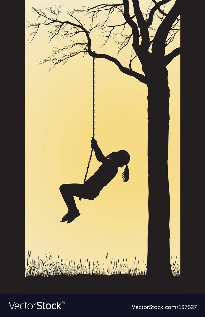 Tree swing vector image