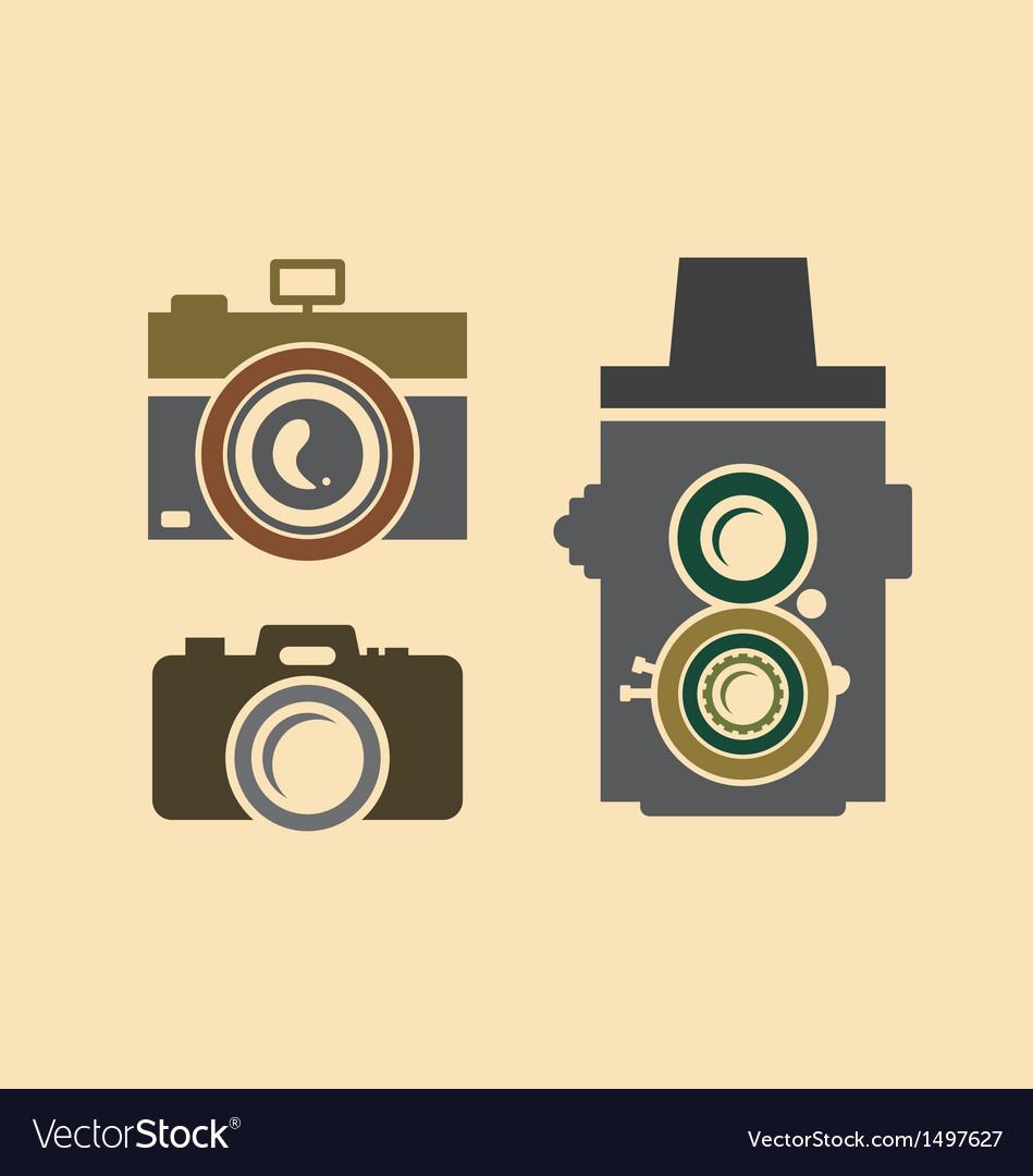 Vintage cameras vector image