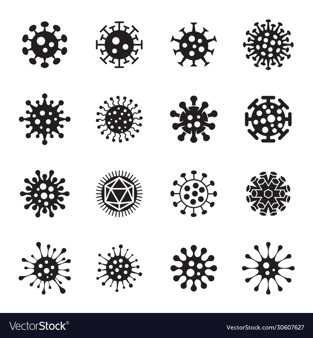 Virus icons on a white background