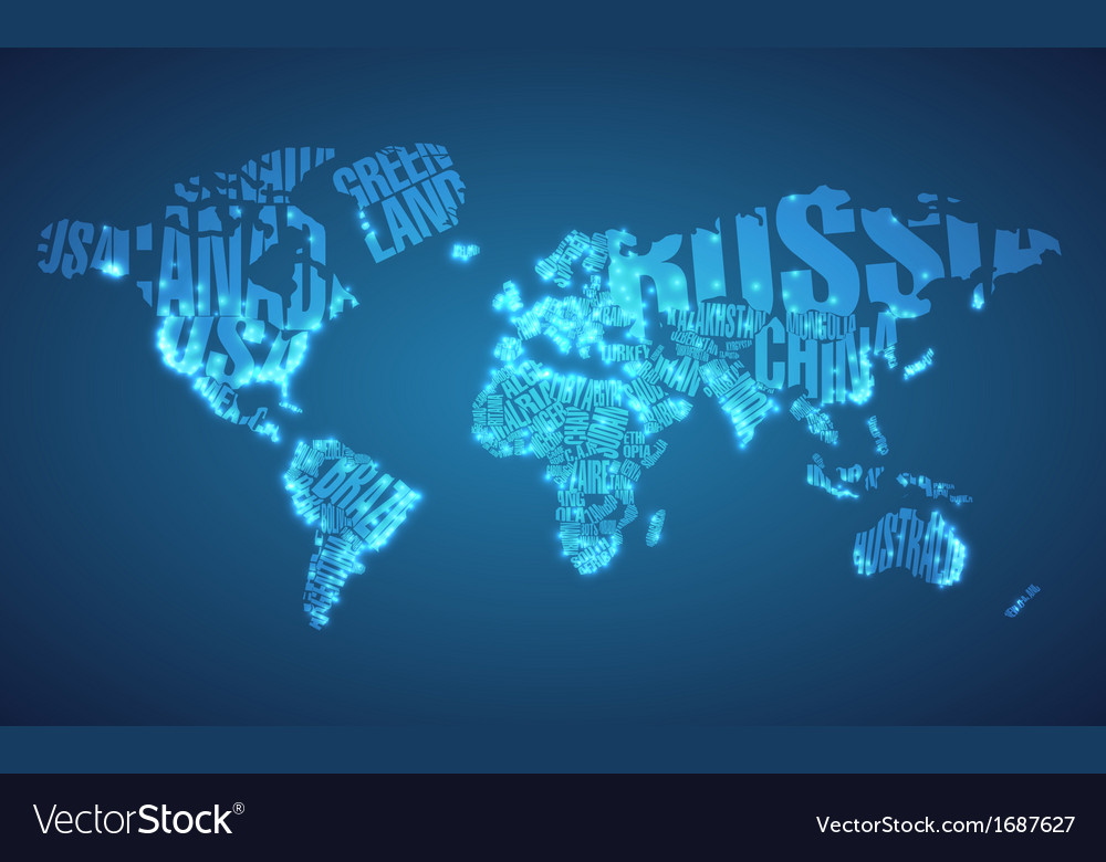 World map in typography with city lights vector image gumiabroncs Image collections