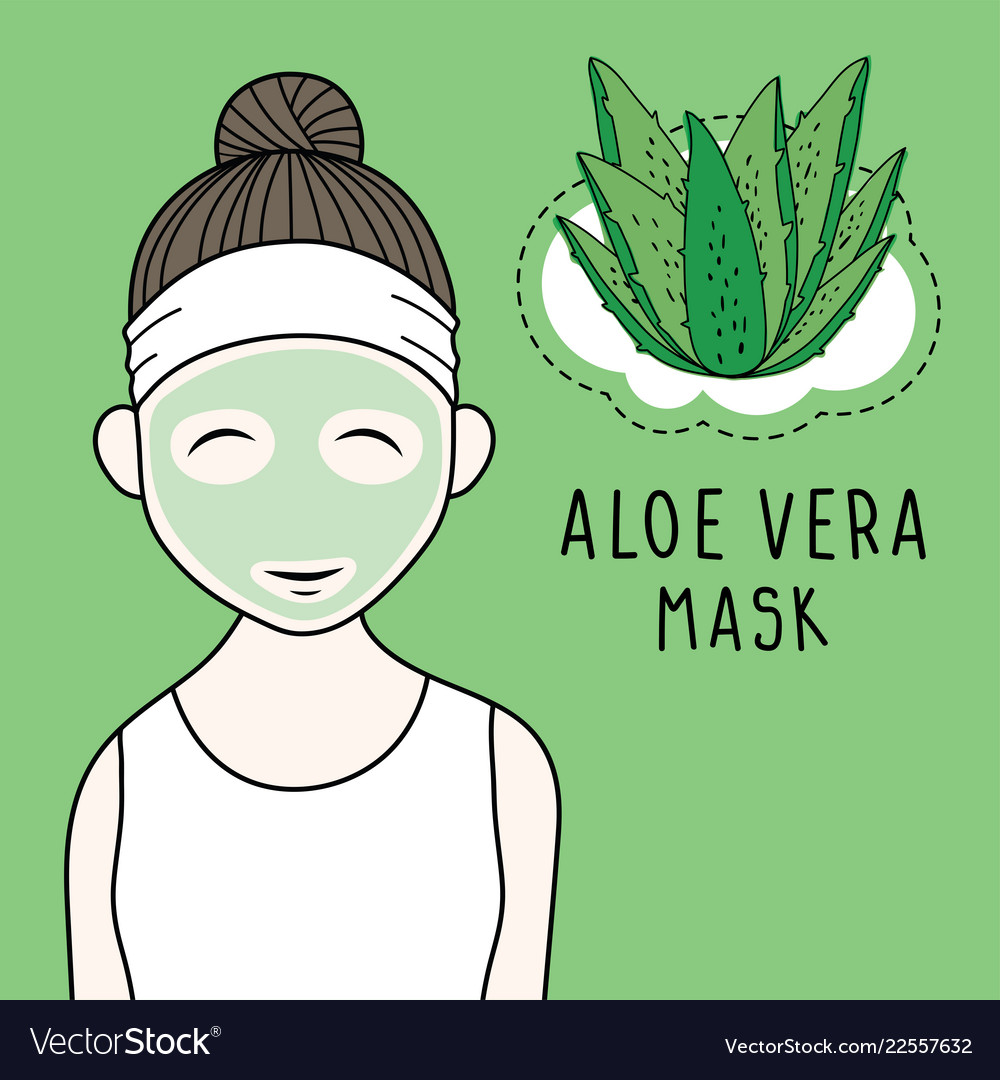 Beauty Woman With Aloe Vera Mask On Face Vector Image