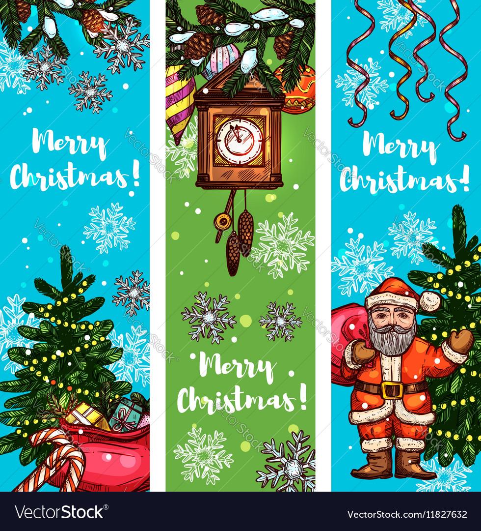 Christmas banner set with Santa gift xmas tree