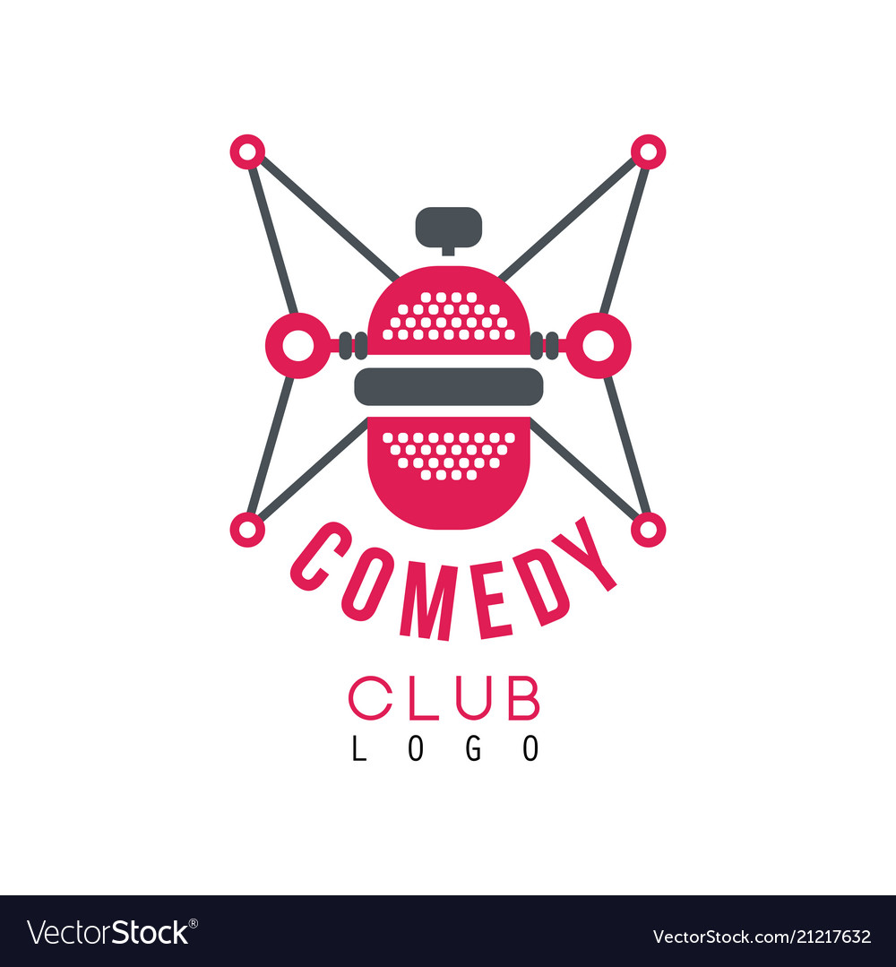 Comedy club logo with retro microphone