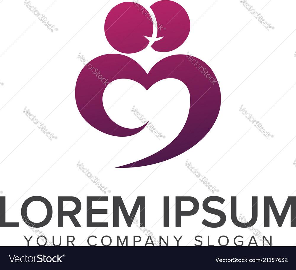 Couple people kiss love logo design concept