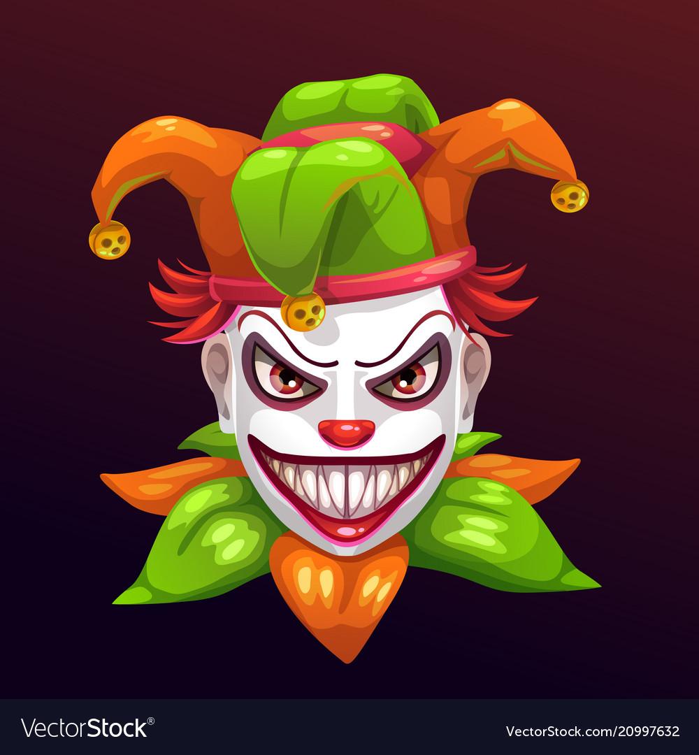 Crazy Creepy Joker Face Royalty Free Vector Image