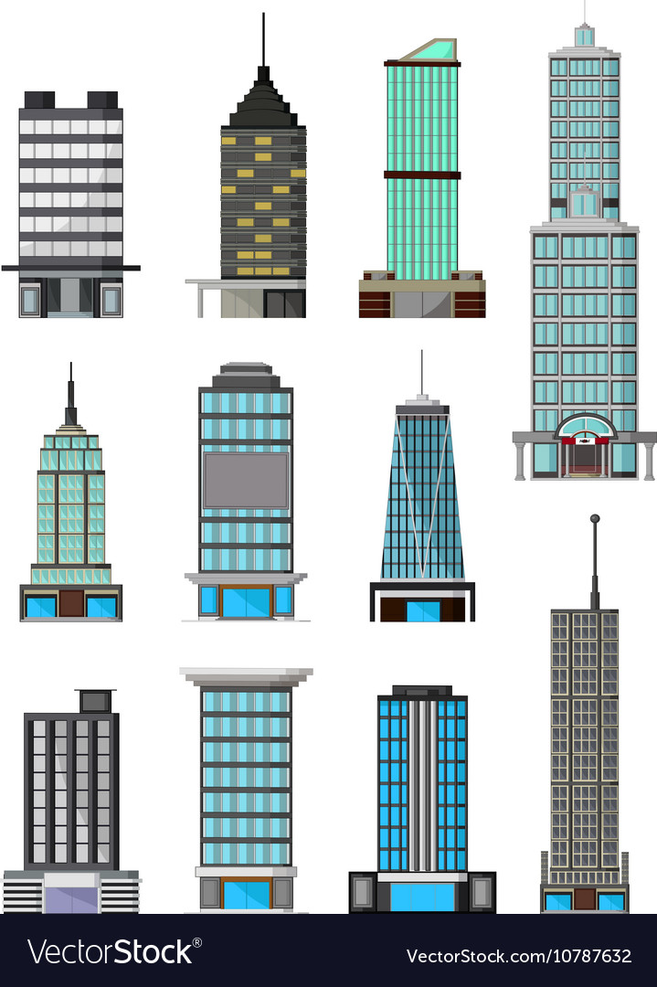 Different kinds of buildings cartoon Royalty Free Vector