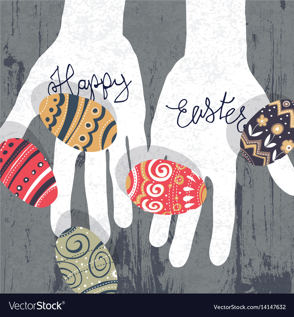 Easter eggs in hands silhouette on wooden board