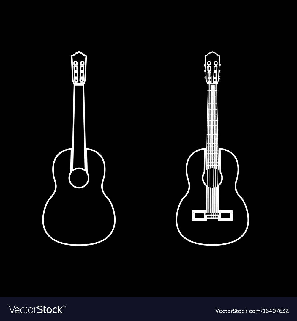 Guitar White Color Path Icon Royalty Free Vector Image