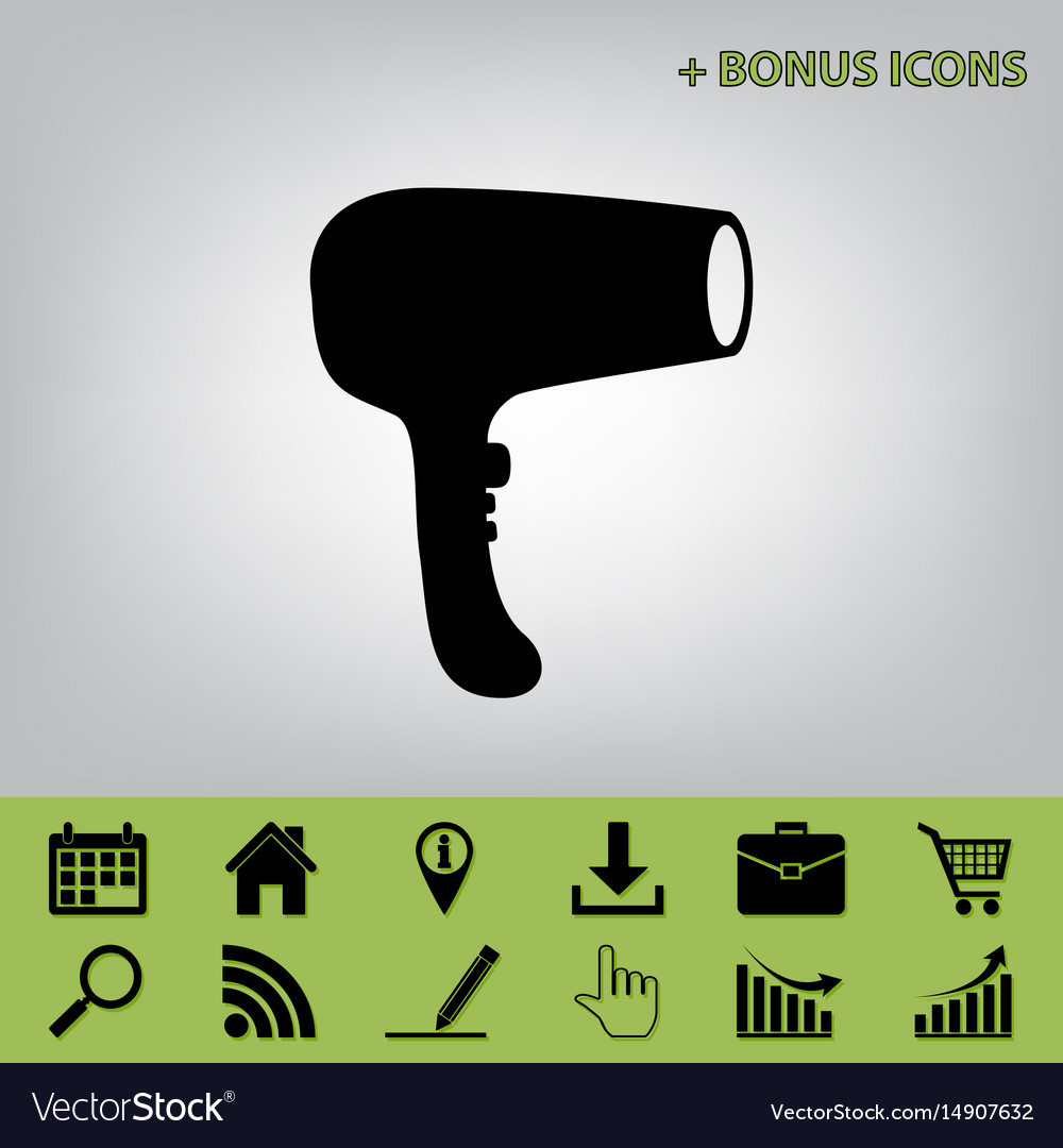 Hair dryer sign black icon at gray vector image