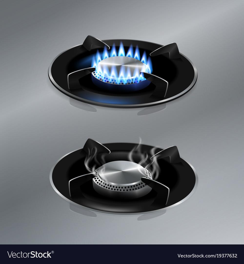 Kitchen gas stove on stainless steel floor vector image