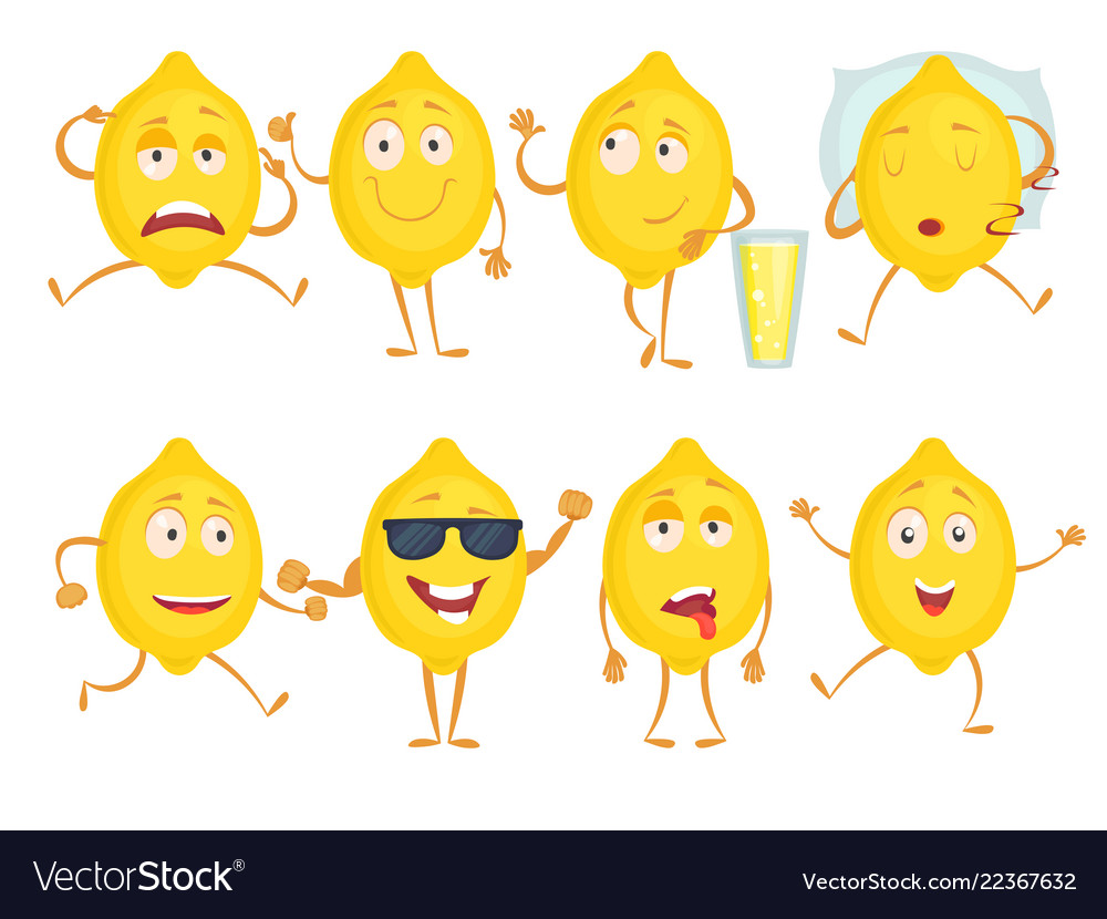 Lemon funny characters fresh fruits emotions