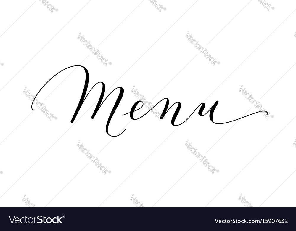 Menu word hand written custom calligraphy vector image