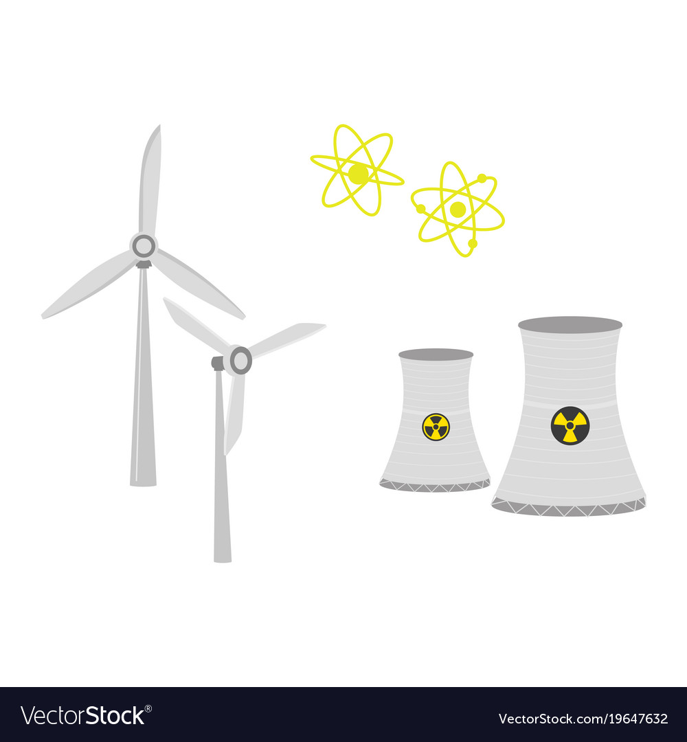 Nuclear Power Plant Chimney Shafts And Windmills Vector Image Diagram Explanation