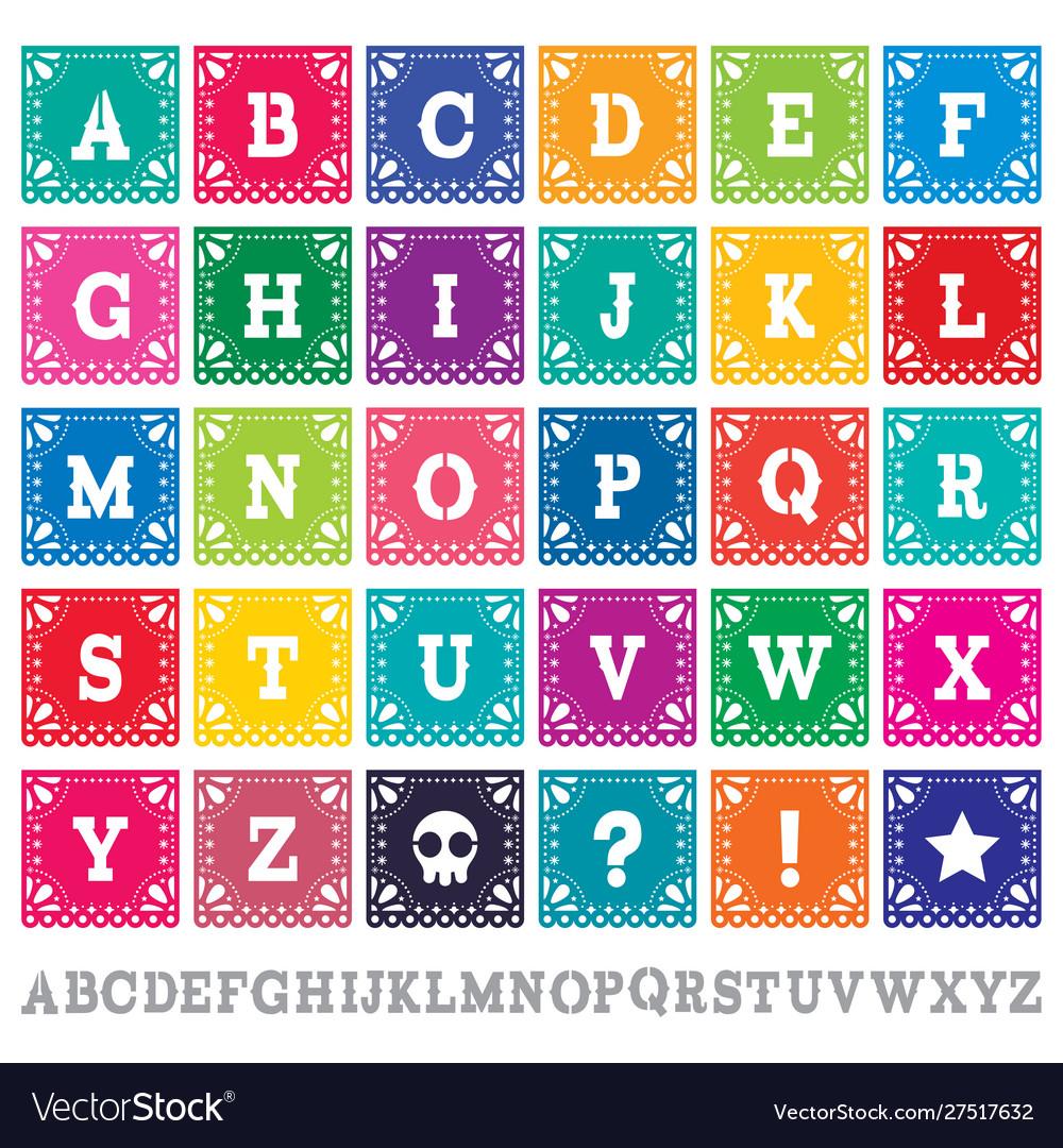 Papel picado alphabet letters template set