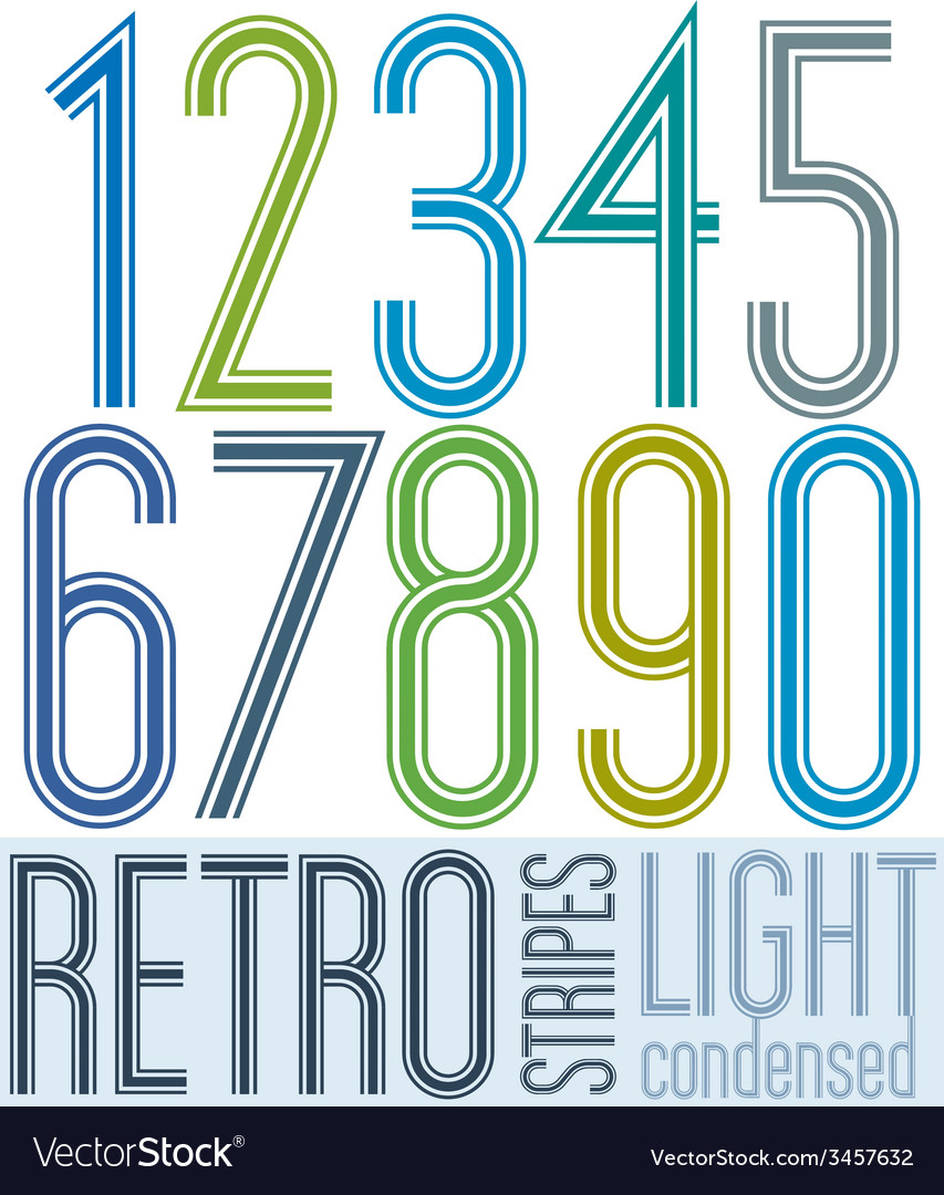 Poster retro light condensed colorful numbers with