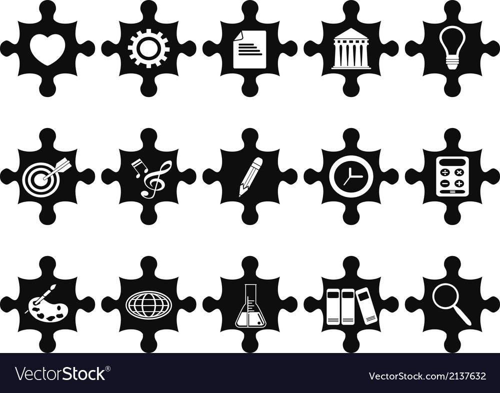 Puzzle concept icons set