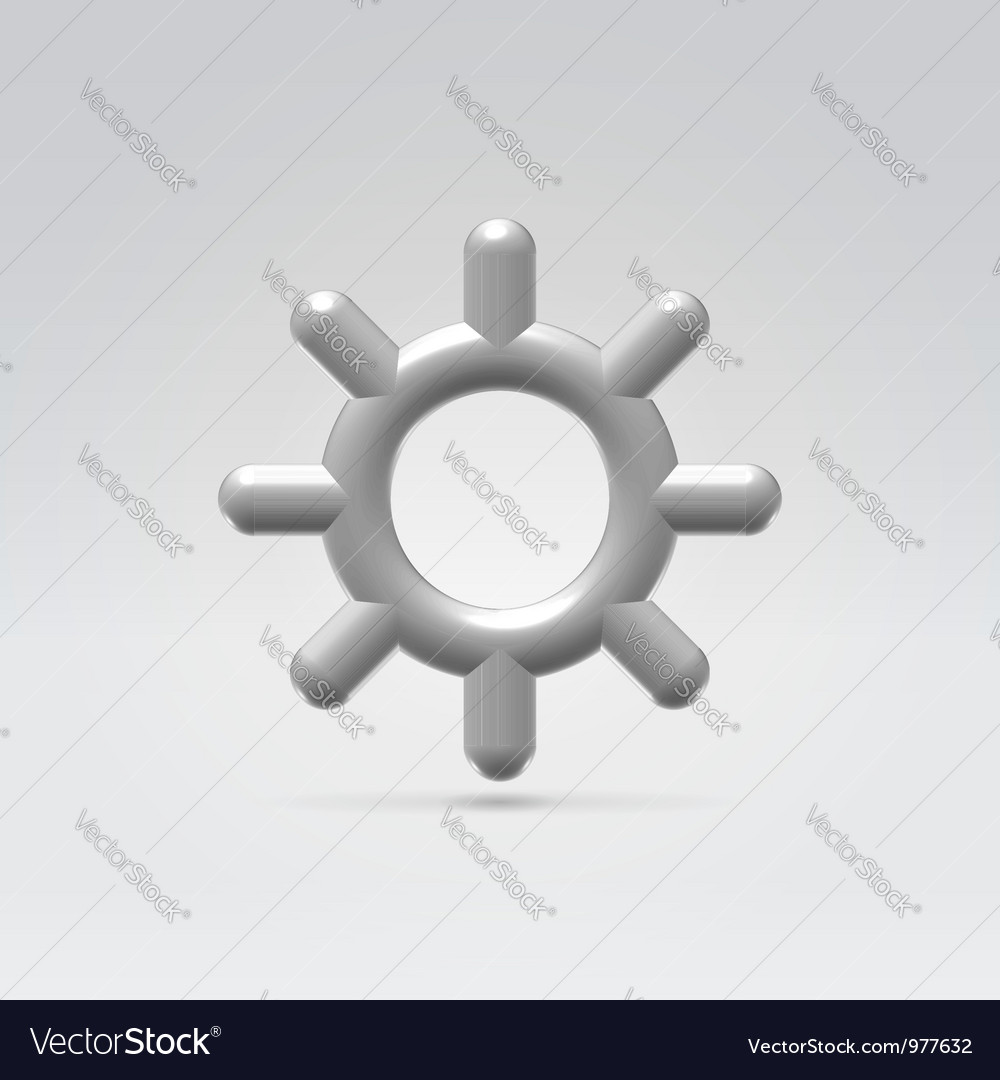 Silver metallic settings wheel icon
