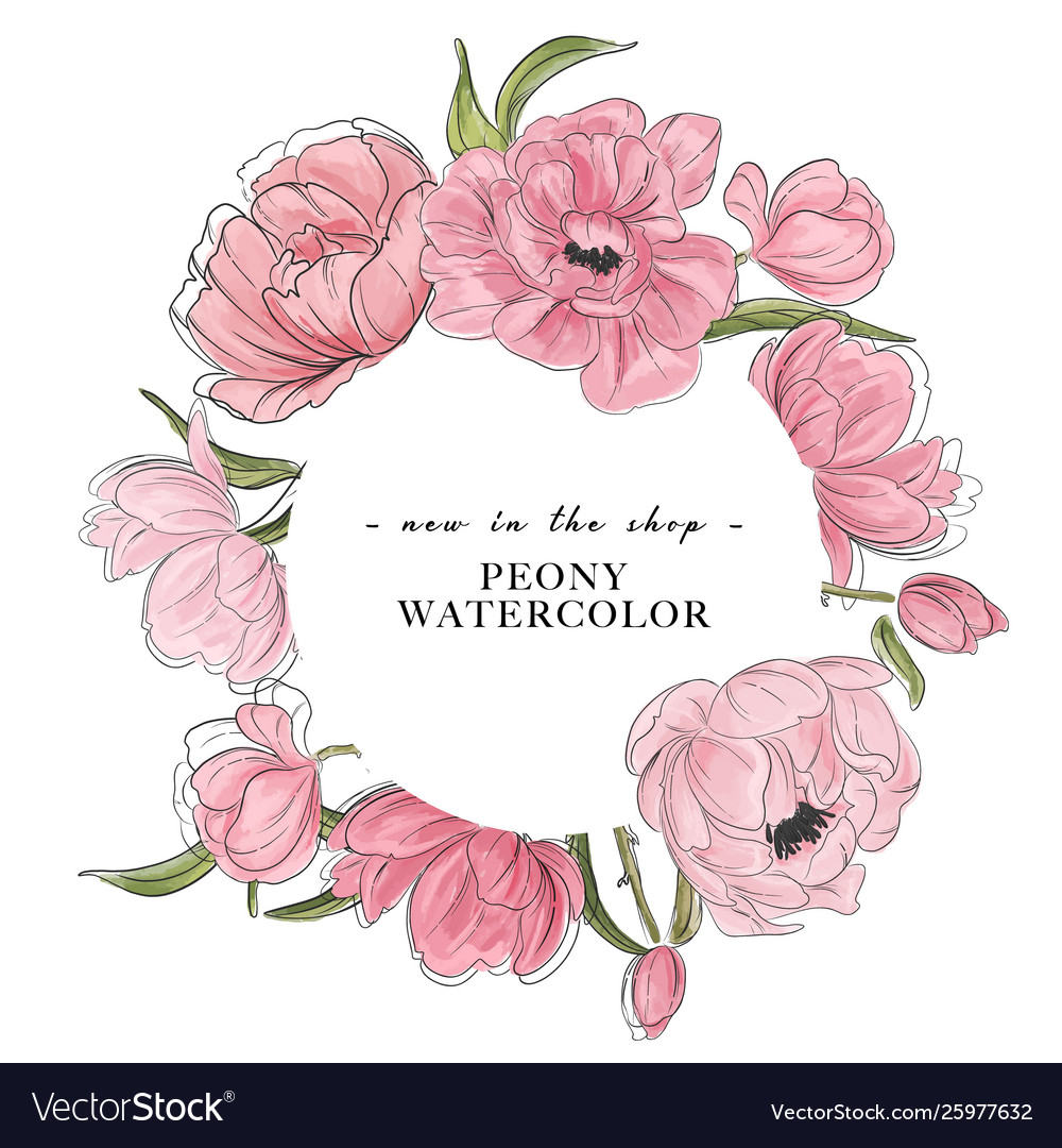 Watercolor flower peony hand-drawn elements