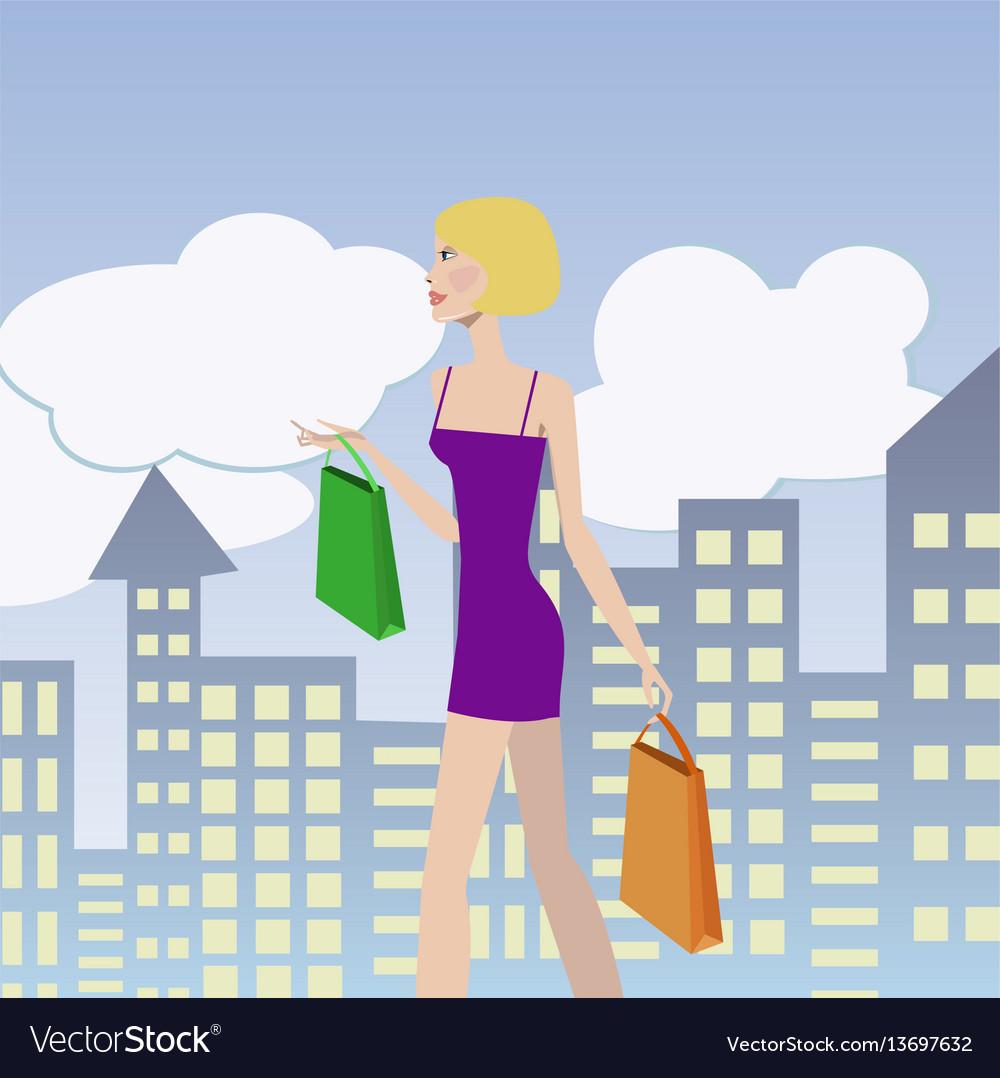 Woman shopping girl with shopping bags walking
