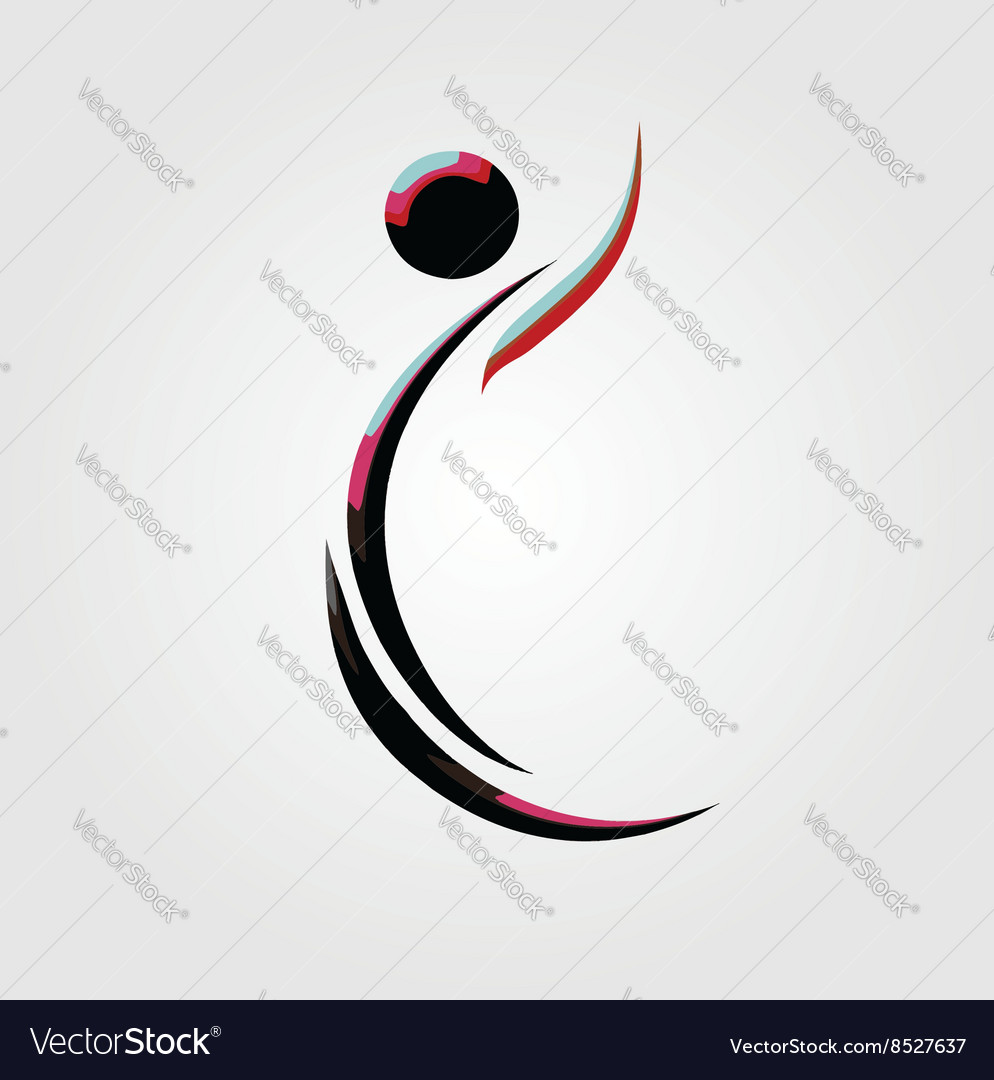 A person in action- logo showing an active person vector image