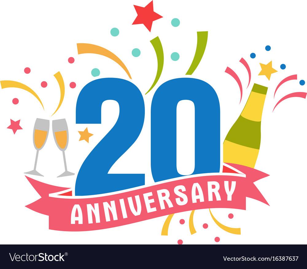 Anniversary twenty years number vector image