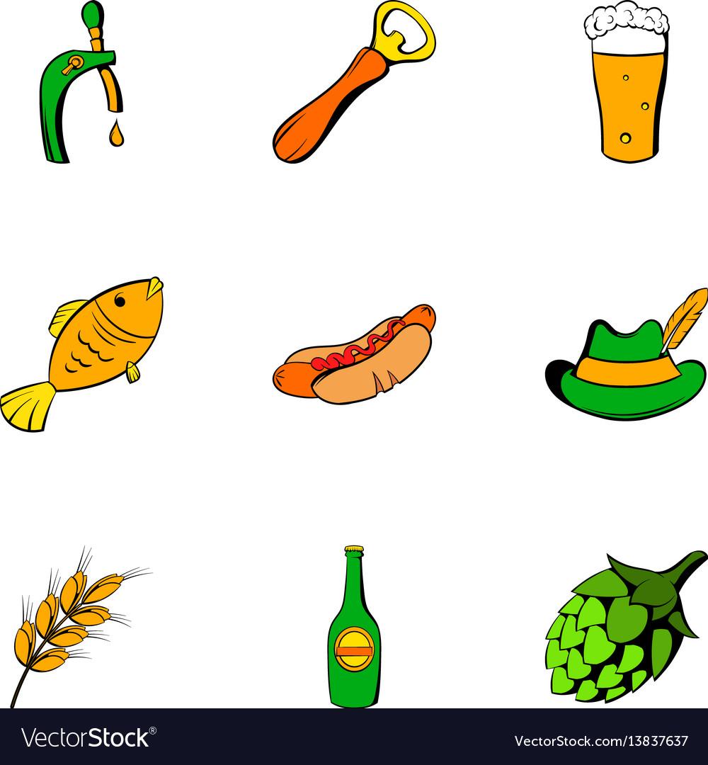Beer celebration icons set cartoon style vector image