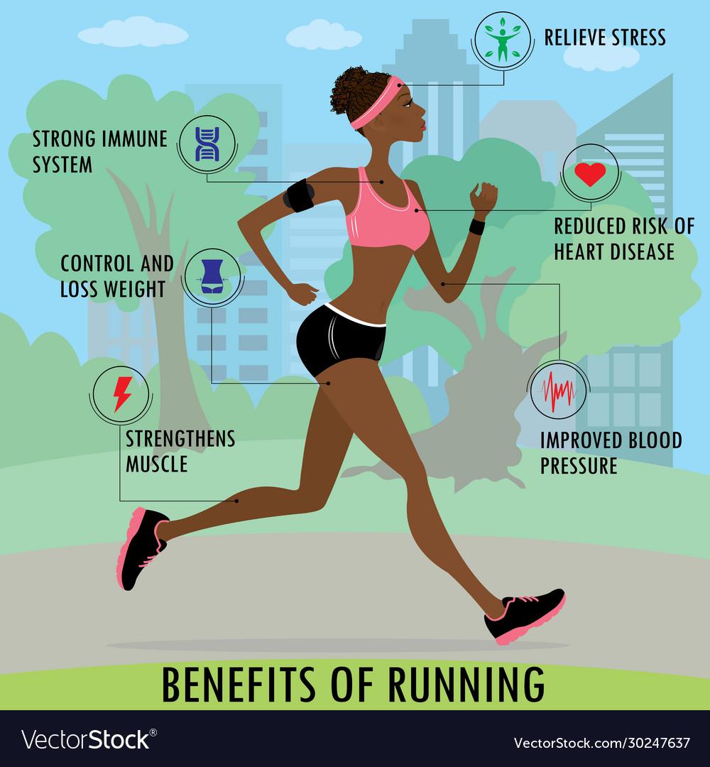 Benefits running slim woman jogging in park