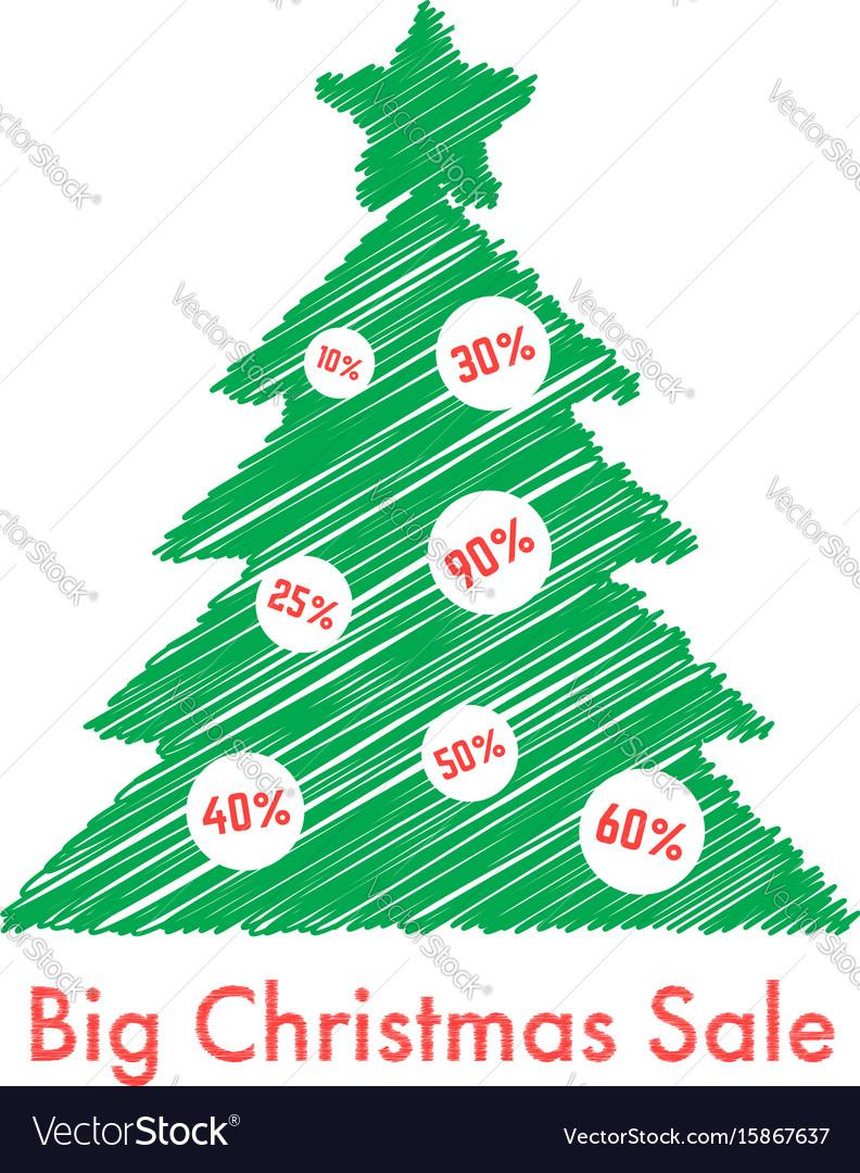 Big christmas sale with scribble fir tree
