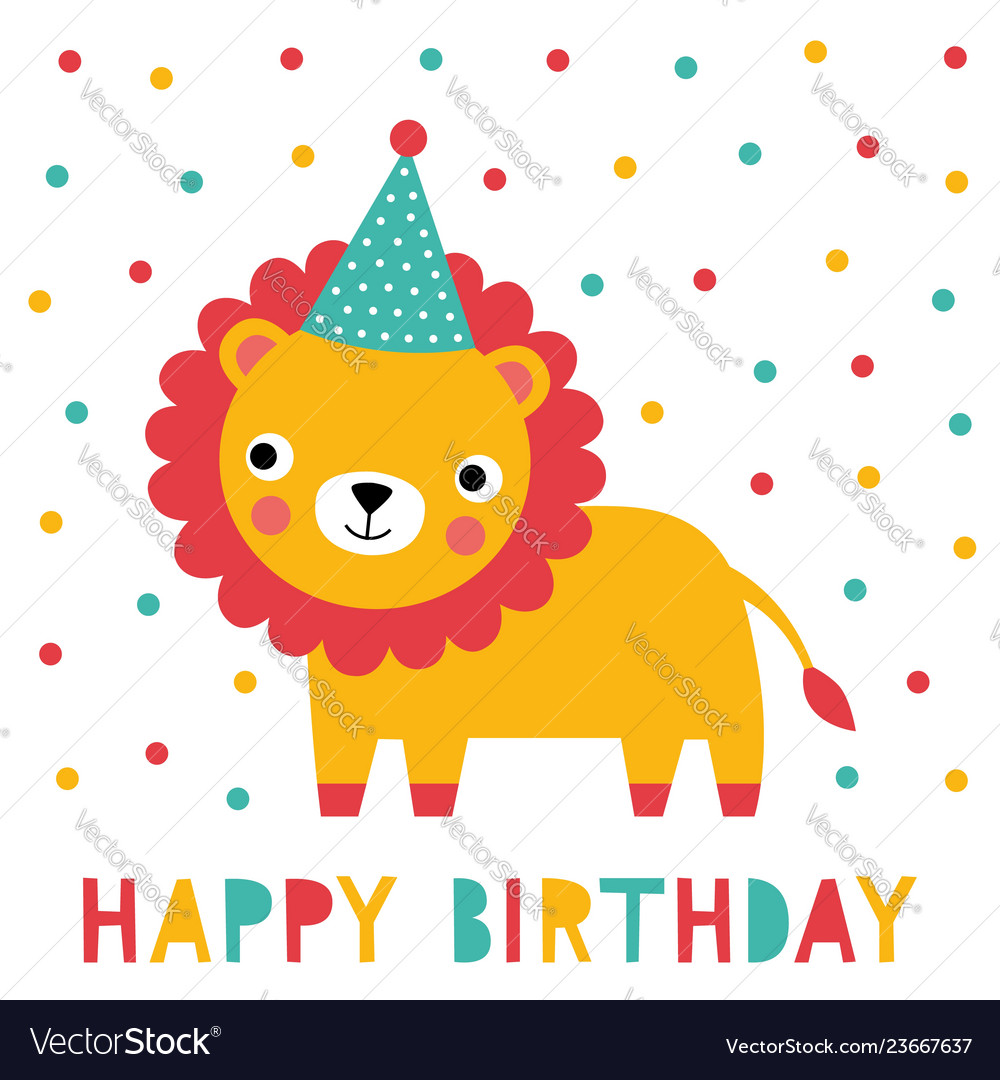 Birthday greeting card with a cute lion