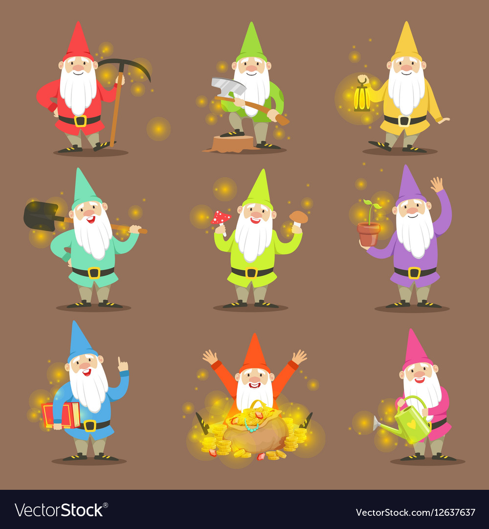 Classic Garden Gnomes In Colorful Outfits Set Of Vector Image