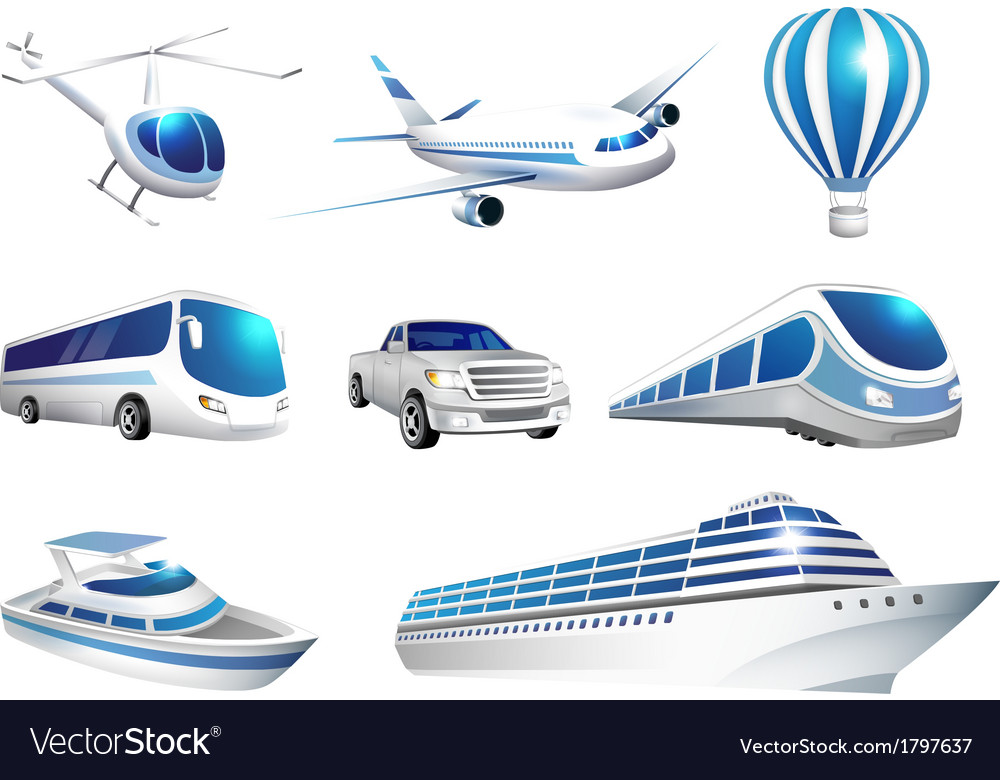 Collection of icons transport