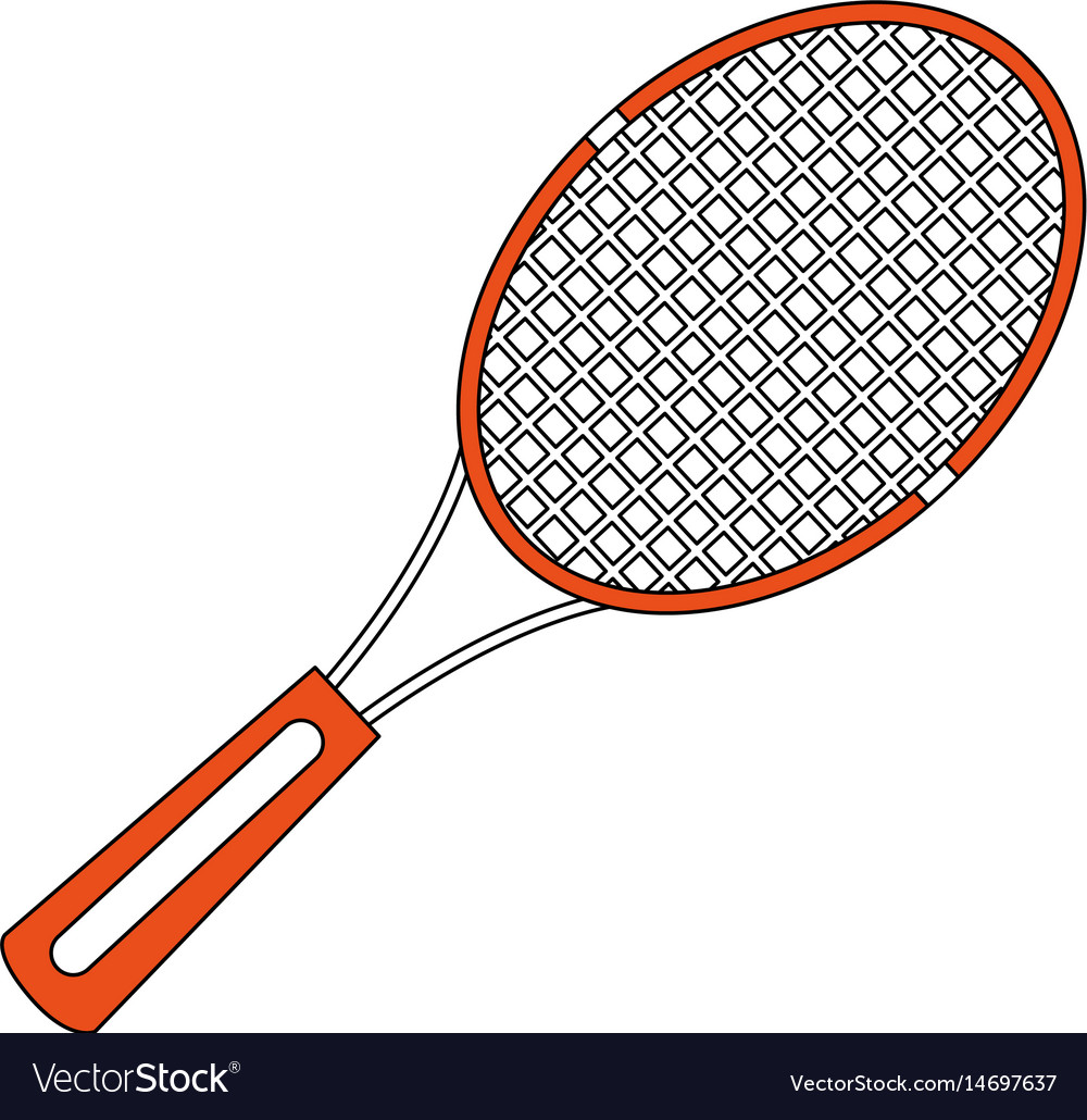 Color Silhouette Cartoon Tennis Racquet With Vector Image