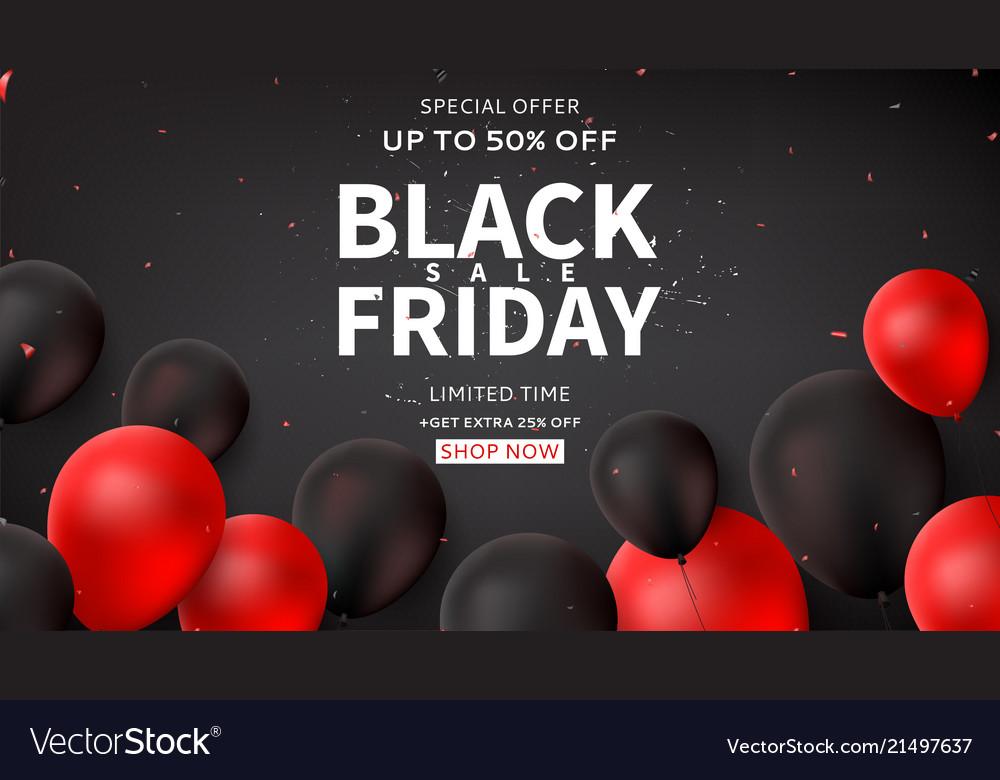 Dark horizontal web banner for black friday sale