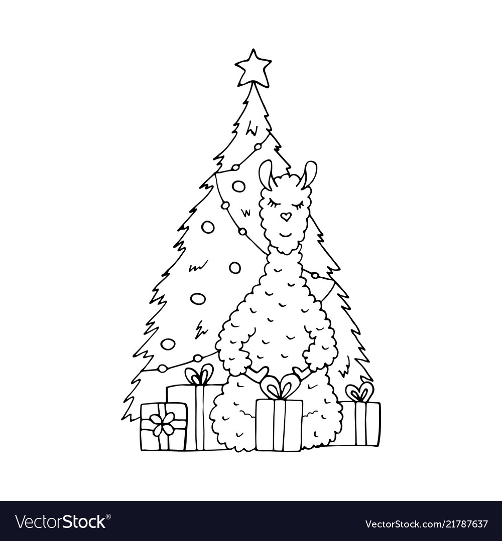 Monochrome hand-drawn lama with gifts Royalty Free Vector