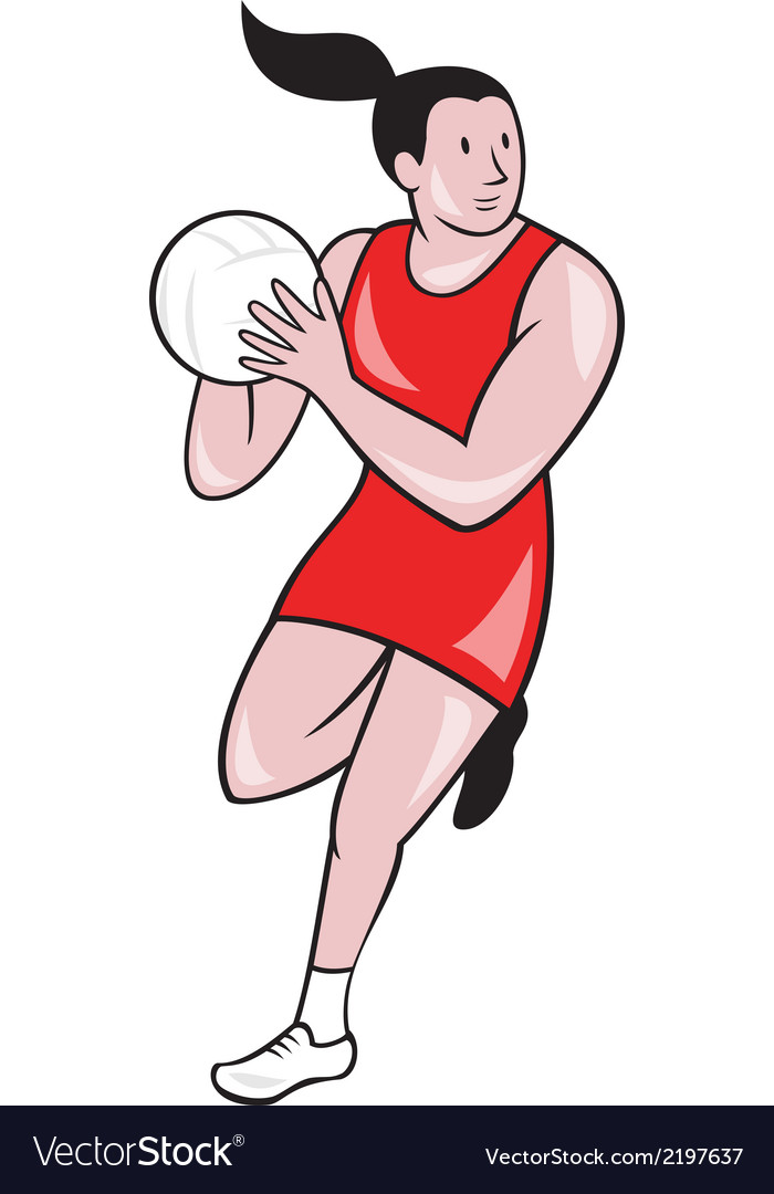 Netball Player Catching Ball Isolated Cartoon vector image