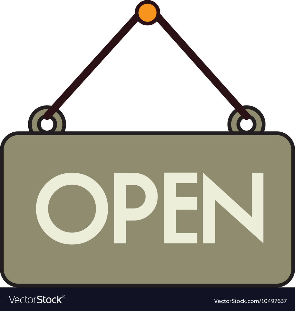 Open sign store isolated