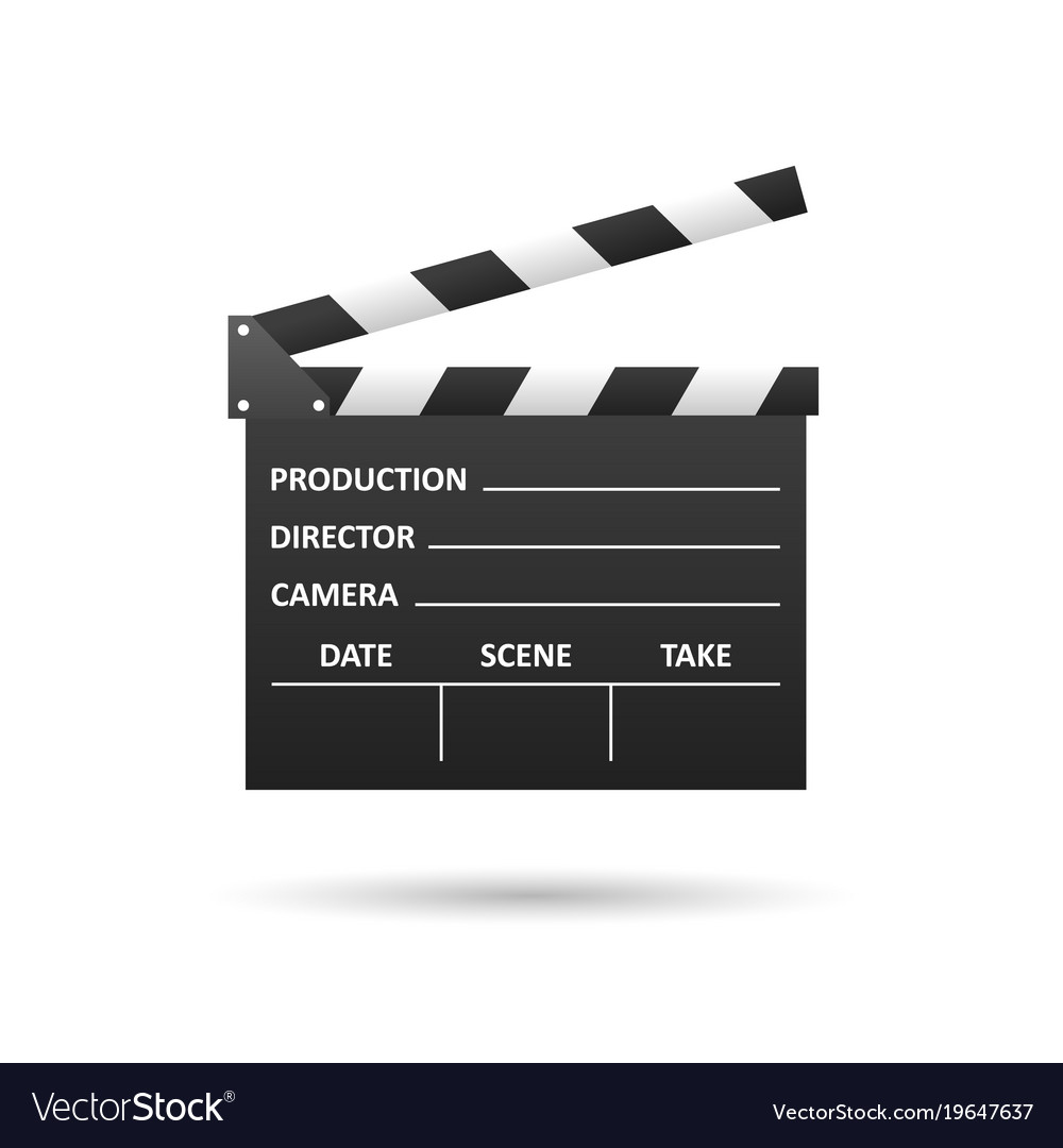 Realistic cinema clapper isolated on white