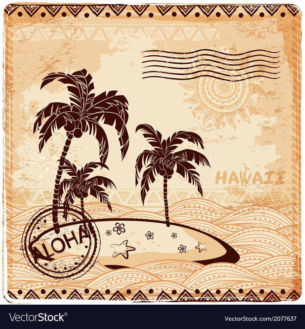 Vintage of the island in the ocean