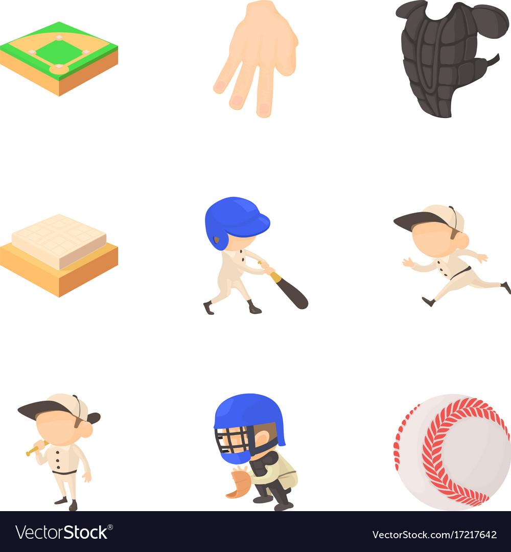 Baseball icons set cartoon style