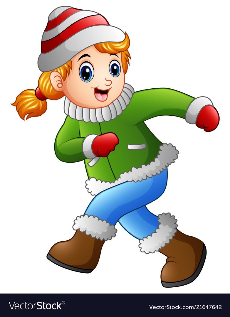 cartoon girl wearing winter clothes royalty free vector
