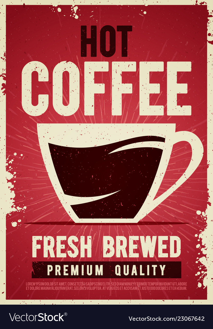 Coffee shop retro vintage poster template tin sign
