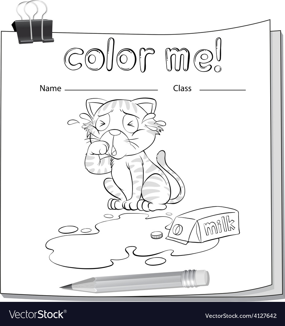 Coloring worksheet with a crying cat