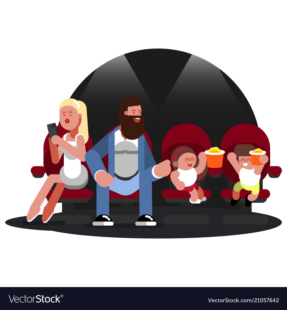 Family watching movie vector image