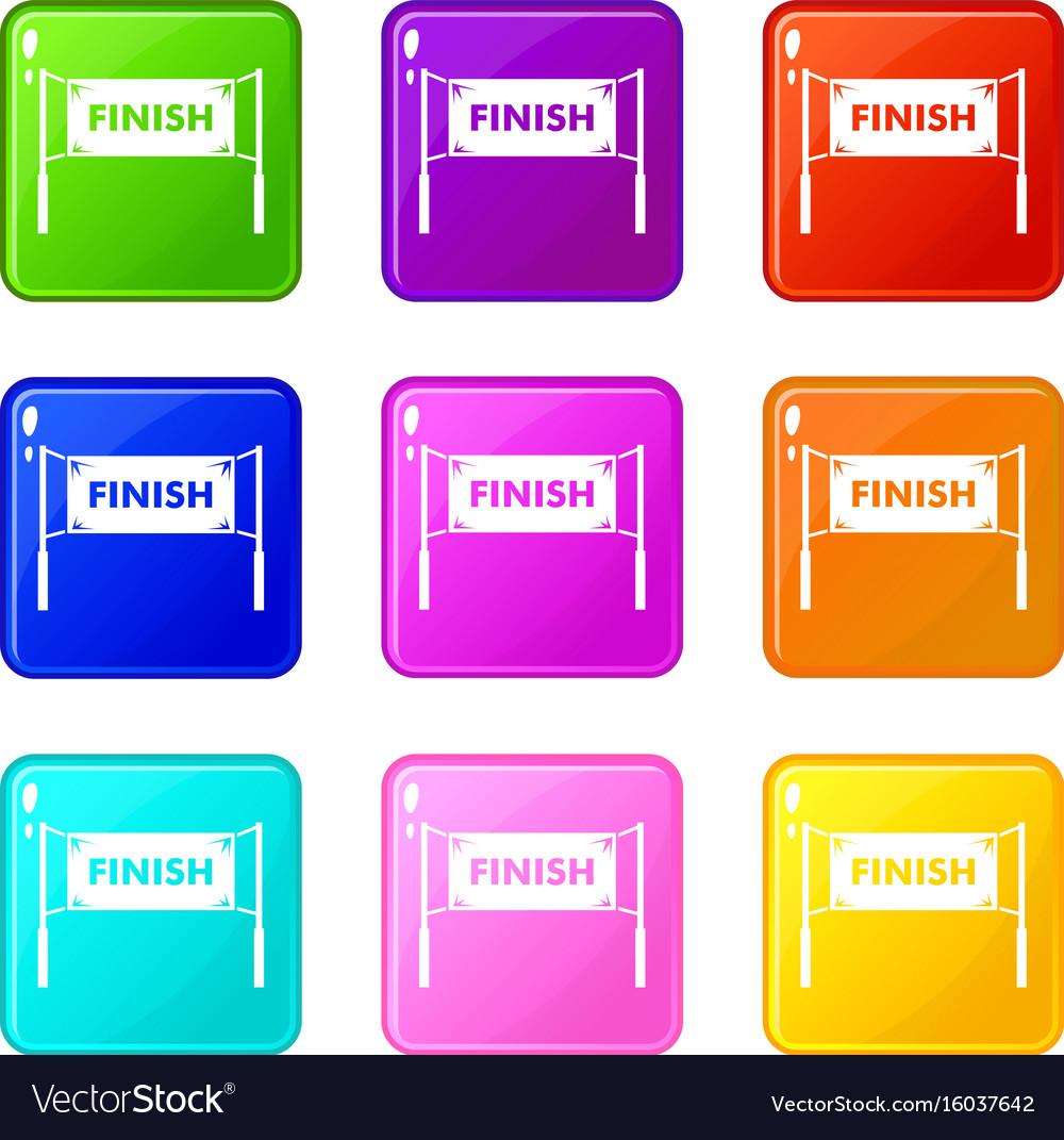 Finish line gates set 9 vector image
