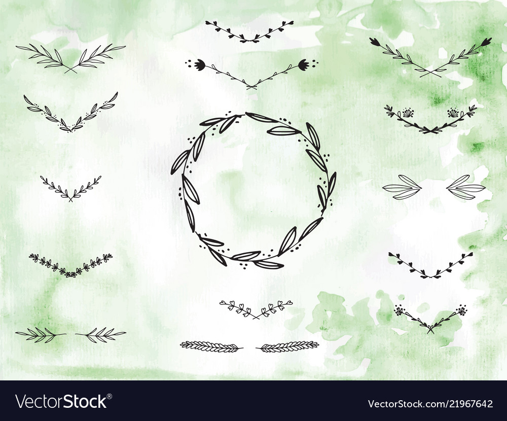 Handpainted branches wreath clip art